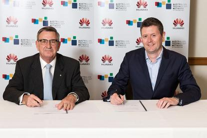 John Lord AM, Chairman Huawei Australia and Professor David Lloyd, Chairman ATN.