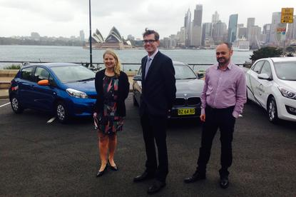 Left to right: Hertz 24/7 representative Nicky Preston, NSW Minister Dominic Perrottet and GoGet CEO Tristan Sender. Credit: NSW government