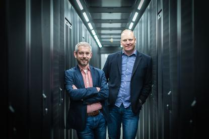 Microsoft Australia Azure engineering lead James Kavanagh and Canberra Data Centres CEO Greg Boorer.