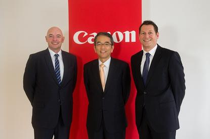 Harbour IT managing director Craig Bishop with Canon Australia managing director Taz Nakamasu and Canon business services director Craig Manson.