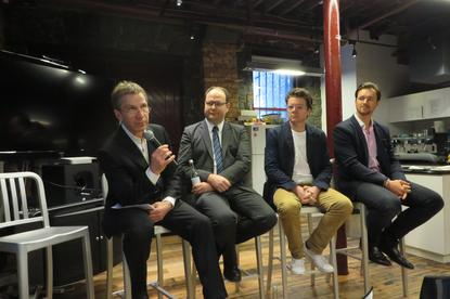David Mast, IBM Bluemix head of A/NZ, leads a discussion with Duncan Macneil of Cartesian Creative, Ash Conway of Bugwolf and Stuart Richardson of the York Butter Factory (left to right).