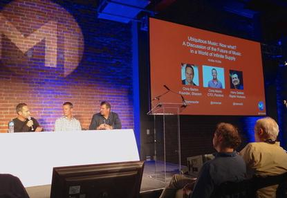 Chris Barton, founder of Shazam, left, and Chris Martin, middle, CTO at Pandora, spoke about the future of music at the M1 mobile summit on Nov. 13, 2014, with Harry DeMott of Raptor Ventures.