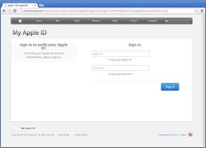 A phished Apple login site on EA.com.
