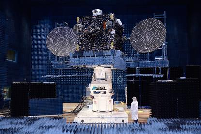 Optus 10 satellite in manufacturer SSL's compact antenna test range in Palo Alto, California. Image credit: Optus.