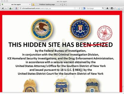 Landing page of new Silk Road website