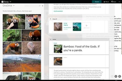 Sway, a new Microsoft Office authoring app, is integrated with the company's OneDrive cloud storage service