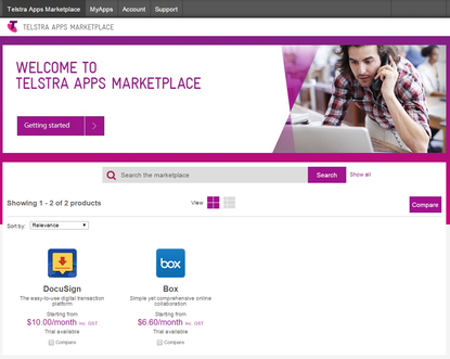 A snapshot of the Telstra App Marketplace.