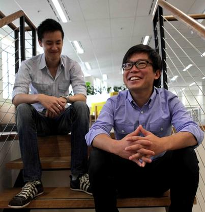 Airtasker co-founders Jonathan Lui (left) and Tim Fung.