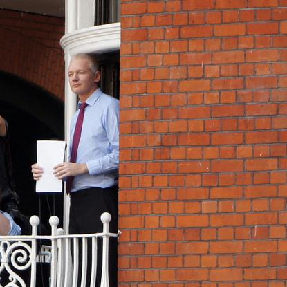 Julian Assange speaking from the balcony at the Ecuadorian Embassy in London.