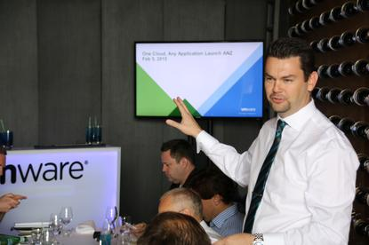 Bede Hackney, director of product sales at VMware ANZ, introduces vSphere 6 and other product updates in Sydney. Credit: VMware