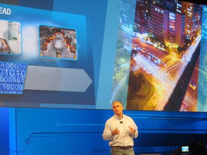 Intel CEO Brian Krzanich during a keynote at Intel Developer Forum 2014