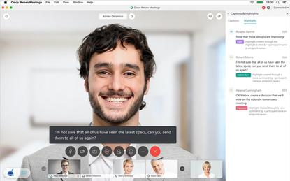 Cisco's new Webex Assistant for Meetings offers real-time transcription and closed captioning as well as the ability to highlight key points and action items via voice commands