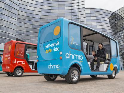 The prototype Ohmio vehicles in Christchurch this week