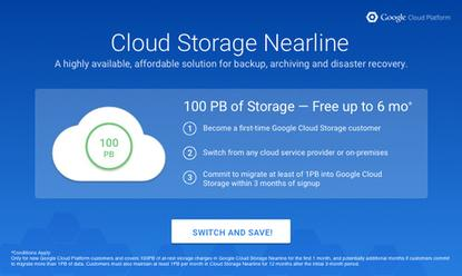 """Google's """"switch and save"""" program for Cloud Storage Nearline."""