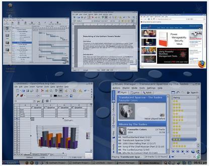 Xandros Desktop Professional includes the window tile effect