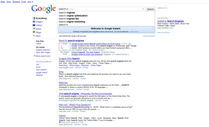 Google Instant displays search results as queries are typed