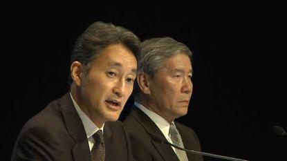 Sony executives Kaz Hirai, president of Sony Computer Entertainment (left), Shinji Hasejima, CIO (right), at a [[artnid:384903|Tokyo news conference]] on May 1, 2011