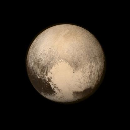 Pluto nearly fills the frame in this image from the Long Range Reconnaissance Imager aboard NASA's New Horizons spacecraft, taken on July 13, 2015, when the spacecraft was 476,000 miles  from the surface and released on July 14, 2015.