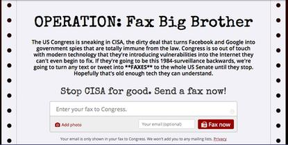 Digital rights group Fight for the Future has launched an old-school fax campaign opposing CISA, a cyberthreat sharing bill.