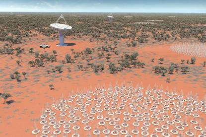 An artist's impression of the Murchison SKA antennas.