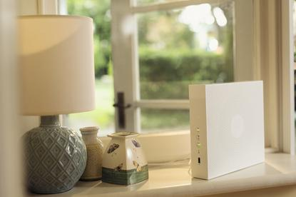 Telstra's 'Smart Modem' in the home of someone with terrible taste in lamps.