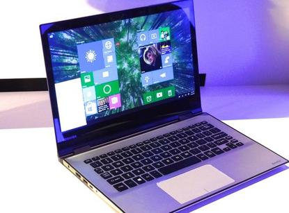 Shown off at a Microsoft event at Computex in Taipei on June 3, 2015, this Windows 10 Toshiba Satellite laptop is a 2-in-1, with a high-resolution 4K screen and an infrared camera that works with Windows Hello, the user authentication feature of Windows 10.