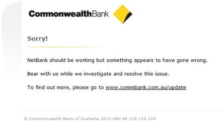 The message some Netbank customers got this morning.