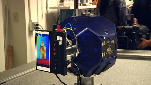 A Google Project Tango cellphone is attached to a NASA Spheres robotic testbed at Ames Research Center in Mountain View, California, on March 17,