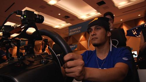 A prototype Intel system reads brain activity from a driver at a San Francisco event on June 25, 2013.