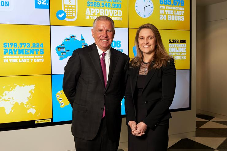 Barclays group chief operating officer, Paul Compton, and CBA group executive institutional banking and markets, Kelly Bayer Rosmarin, in CBA's London Innovation Lab