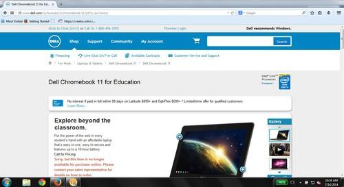 Online sale of Dell's Chromebook 11 has been discontinued (screenshot)