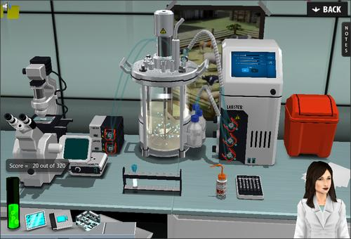 One of Labster's virtual laboratory setups