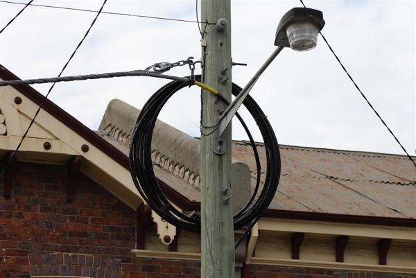 Picture taken last month of overhead fibre on electricity poles in Launceston.  Source: CEPU