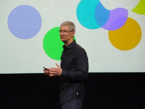 Apple CEO Tim Cook on stage at the company's headquarters in Cupertino on September 10, 2013