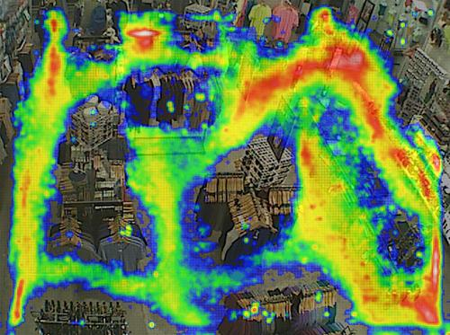 A promotional image for RetailNext, a company that provides heat maps of customer movement throughout retail stores.
