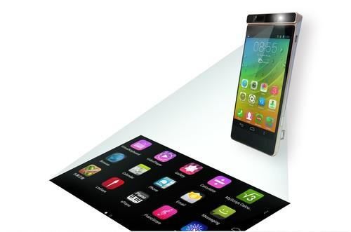 Lenovo's concept for a new smartphone with a projector on top.
