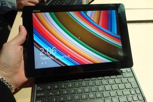 The Asus Transformer Book T100 in tablet mode.