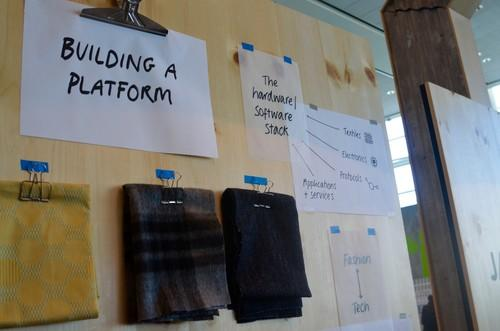Signage around the booth for Project Jacquard at Google I/O 2015, the company's smart fabric effort.
