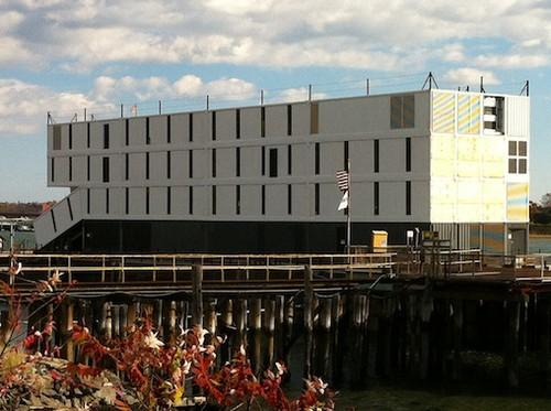 These shipping containers piled on top of a barge in Portland, Maine, could be a Google floating data center, although the Internet company won't say. A similar barge is docked in San Francisco Bay.