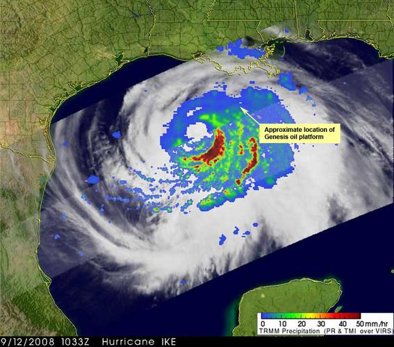 The massive Hurricane Ike filled much of the Gulf of Mexico on Sept. 12, with large areas of intense rainfall, as shown in this image from NASA's Tropical Rainfall Measuring Mission (TRMM) satellite. The approximate location of Chevron's Genesis platform has been added to the image.