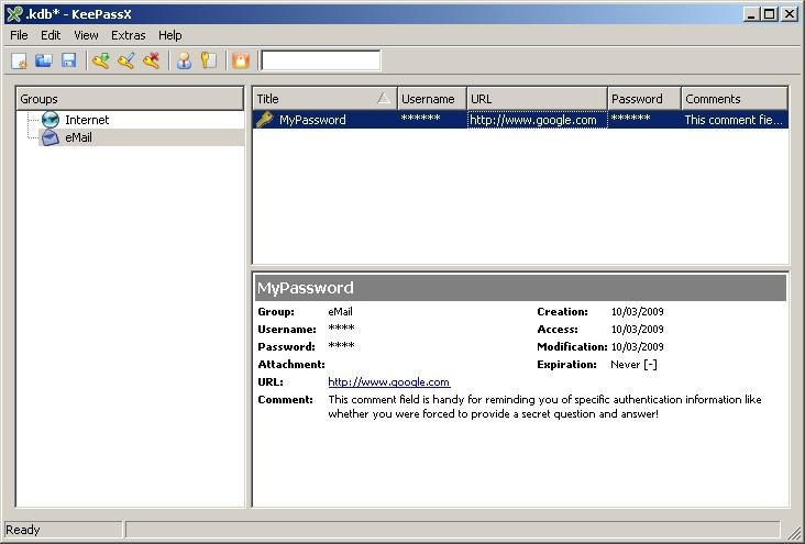 KeePassX manages username and password credentials and other sensitive information. Shown here on Windows XP, but it also runs on Linux and Mac OS X.