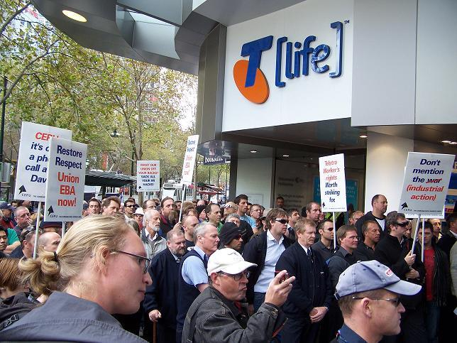 Telstra workers strike in Melbourne