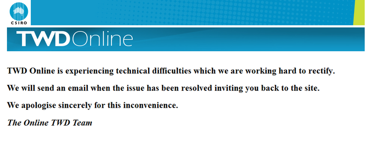 The error message that began appearing on 3 September.
