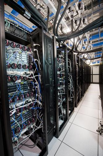 Reverse view of the Animal Logic render farm including HP BladeSystem c7000 enclosures with HP BL2x220c blade servers.
