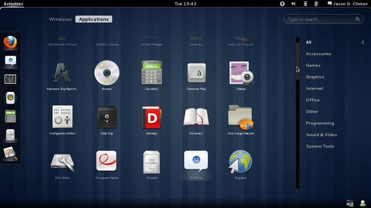 GNOME 3 application launcher layout