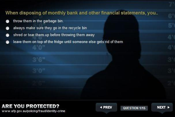 Screenshot taken from the Australian Federal Police website.