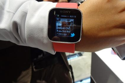 Sony's new Smartwatch runs mini-apps and syncs with Android smartphones via Bluetooth to show feeds and messages.