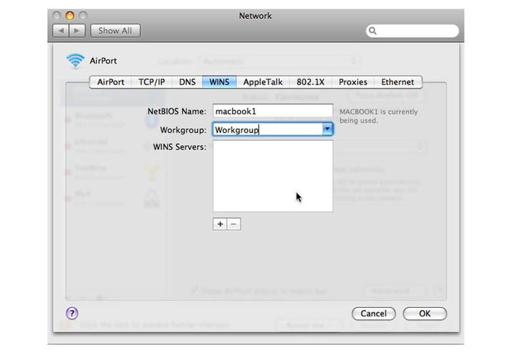 Configuring a Mac to participate in a Windows network, step 2: In the Advanced Network Options dialog, click the WINS tab and fill in the NetBIOS name and the workgroup name. If a WINS server is used on the network, fill in the address.