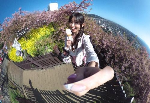 On a popular app, Japanese weather information firm Weathernews is featuring photos of cherry blossoms panoramic photo taken with Ricoh's Theta m15 camera.