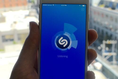 Shazam's app, on an iPhone 6 on June 29, 2015.